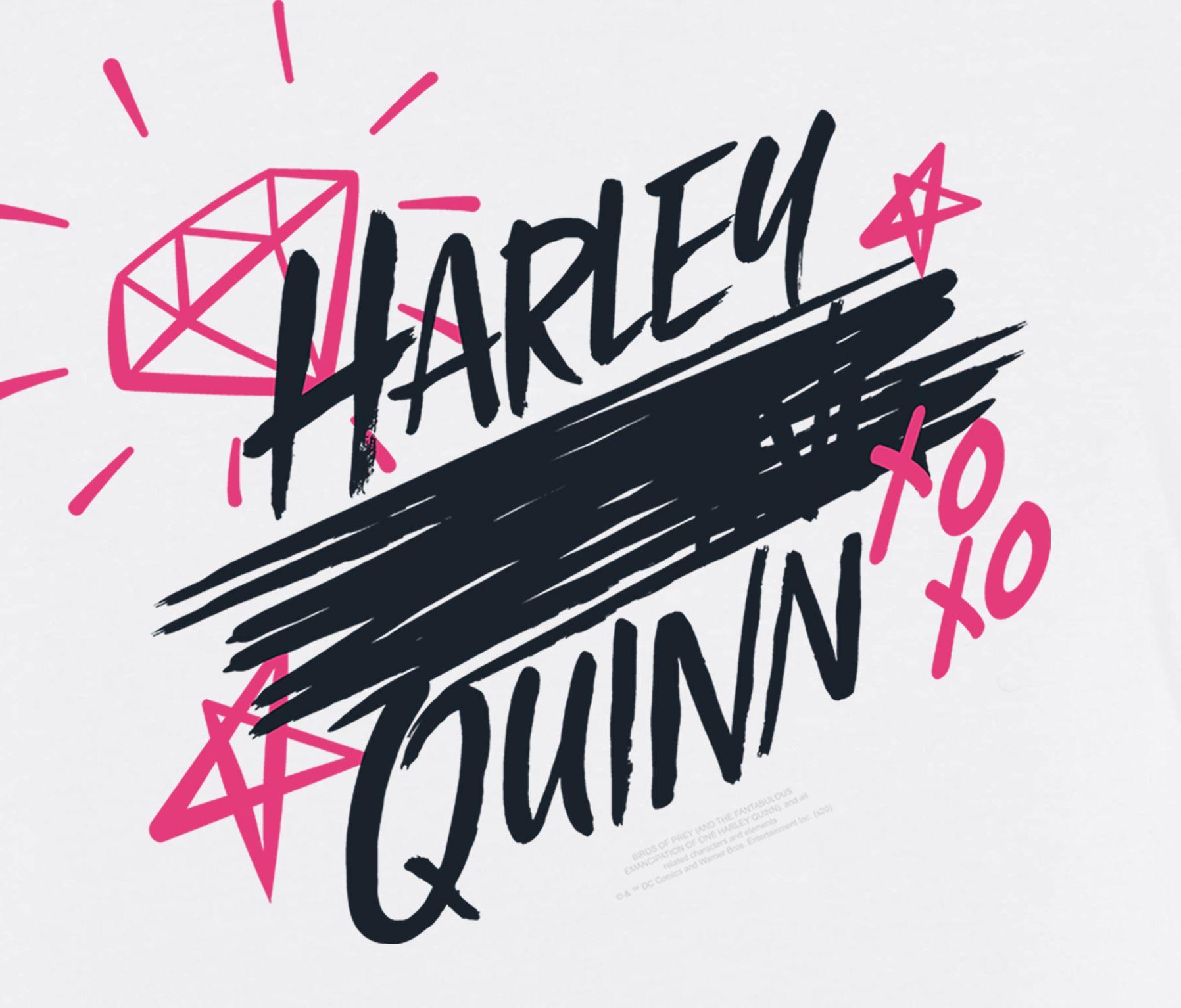 Harley Quinn Birds of Prey Scratched Logo Men's White T ...