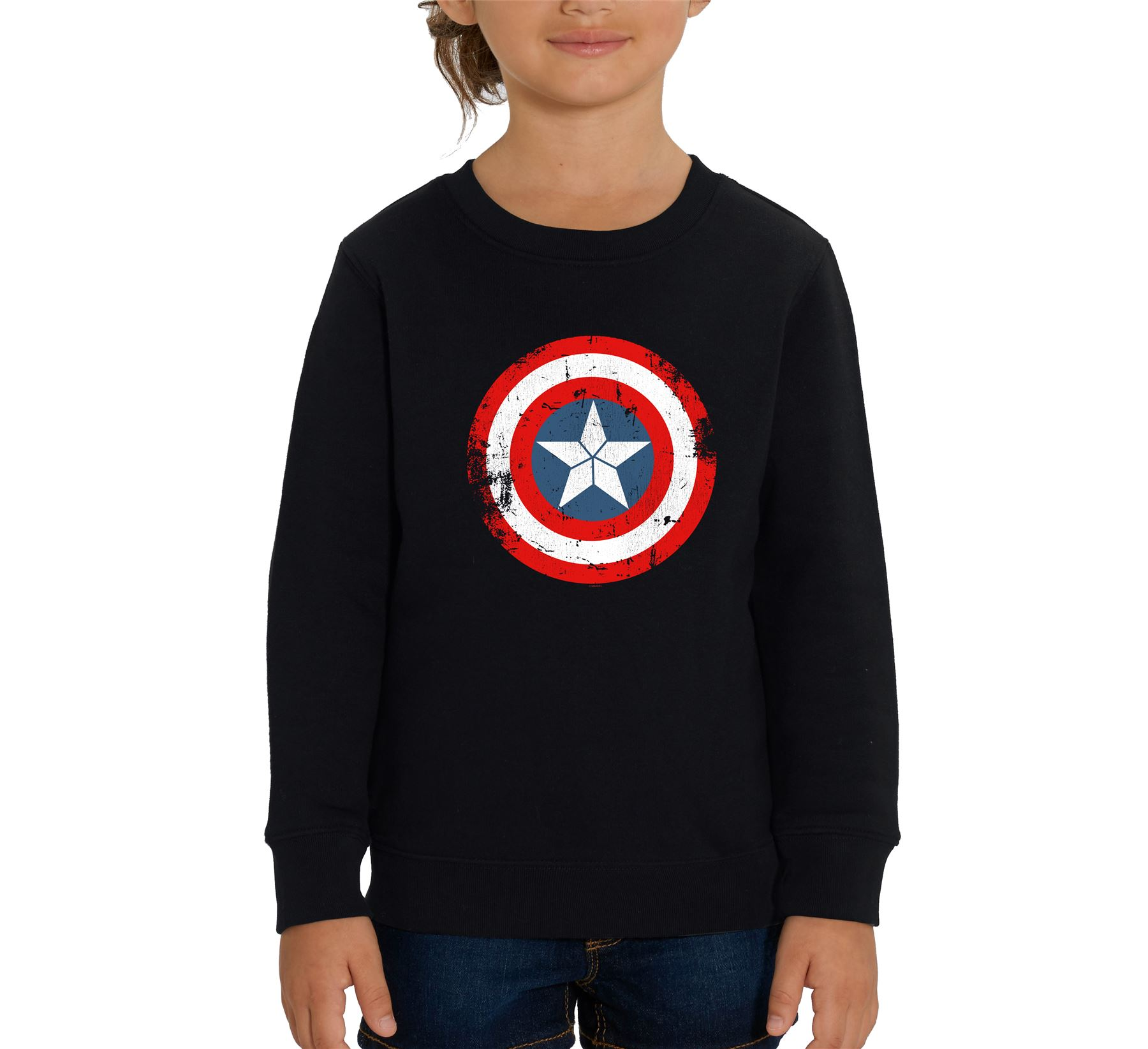 Captain Marvel Emblem Children/'s Unisex Black T-Shirt