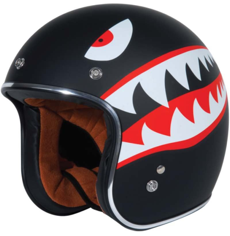 torc t50 route 66 3/4 open face motorcycle helmet (gloss black m