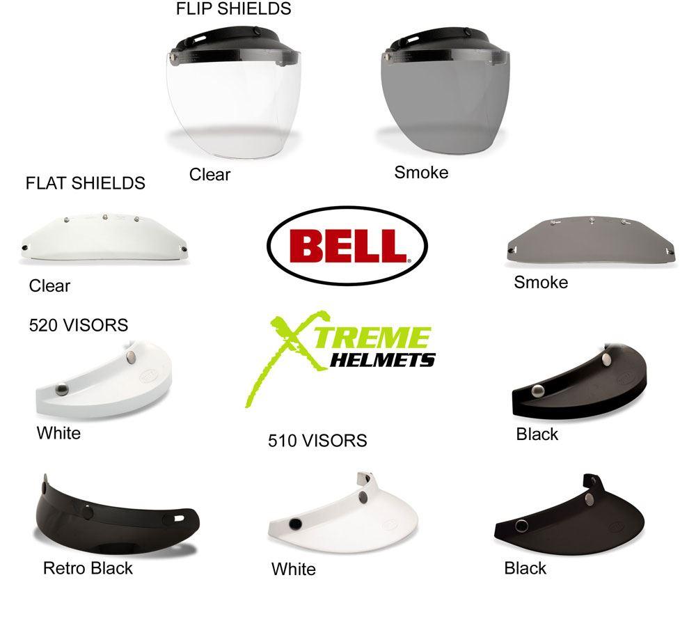 Bell Custom 500 Bubble Visor >> Bell Custom 500 3 Snap Shield Visor Universal Bubble DLX Retro Flip Flat 510 520 | eBay