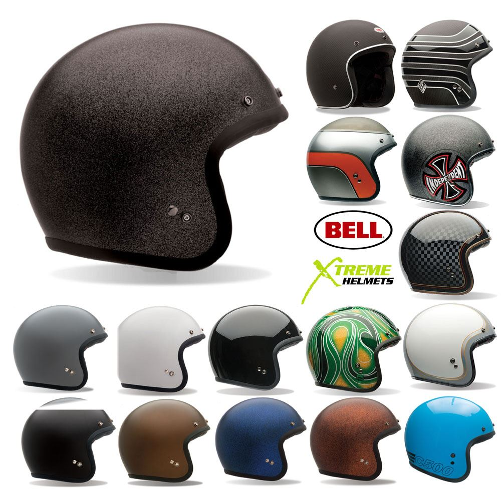 Bell custom 500 gloss black vintage low profile helmet chopper harley - Bell Custom 500 Helmet Open Face 3 4