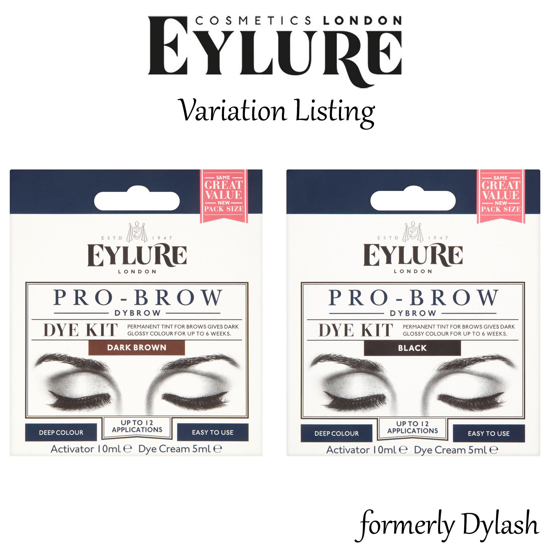 Eylure Dybrow Dark Brown Black Eyebrow Dye Kit Previously