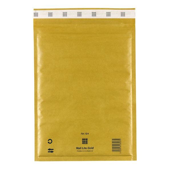 Sealed Air Mail Lite Gold Bubble Lined Gold Padded