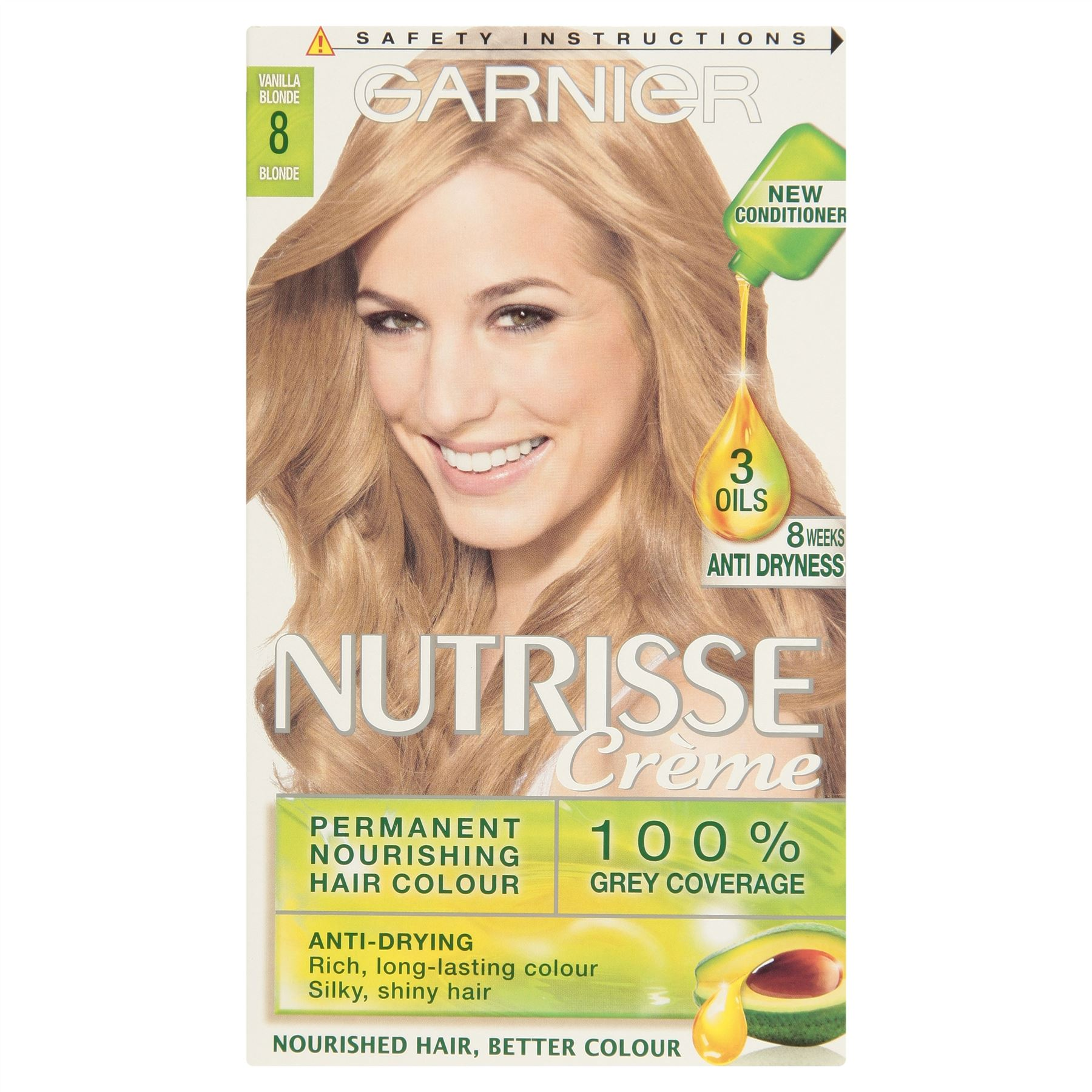 3 X Garnier Nutrisse Crme Permanent Hair Colour Vanilla Blonde 8