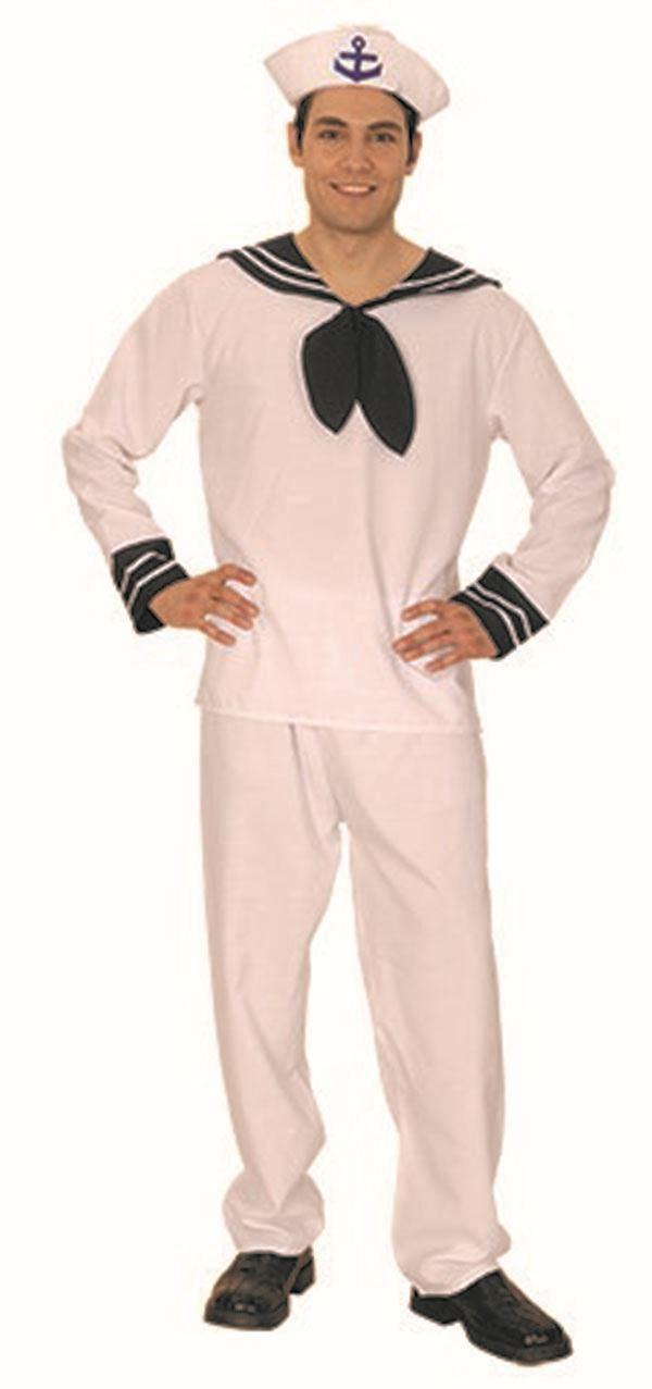 Mens White Sailor Uniform Cruise Ship Captain Film Fancy Dress - Cruise ship costume