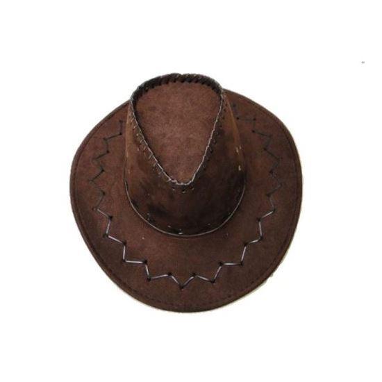 2d909d414 Details about Cowboy Hat Suede Look Mens Ladies Cowgirl Bucket Brim Cap  Fancy Brown Unisex