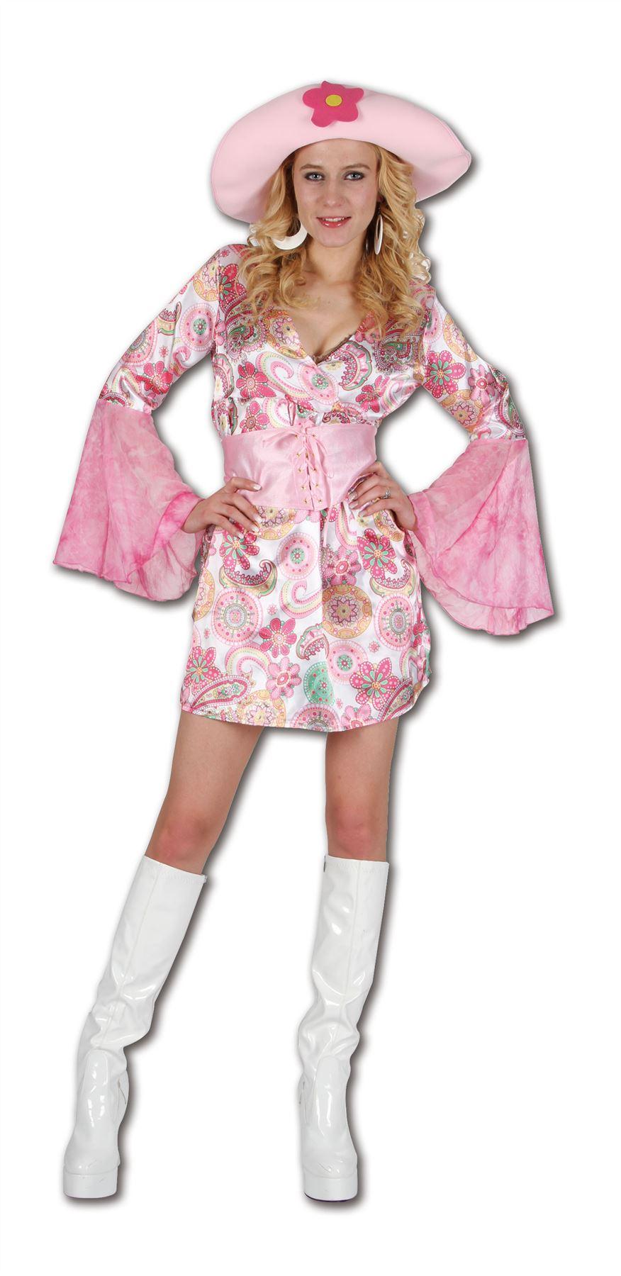Women Pink Flower Chick Costume 70s Hippy Hippie Party Ladies Fancy ...
