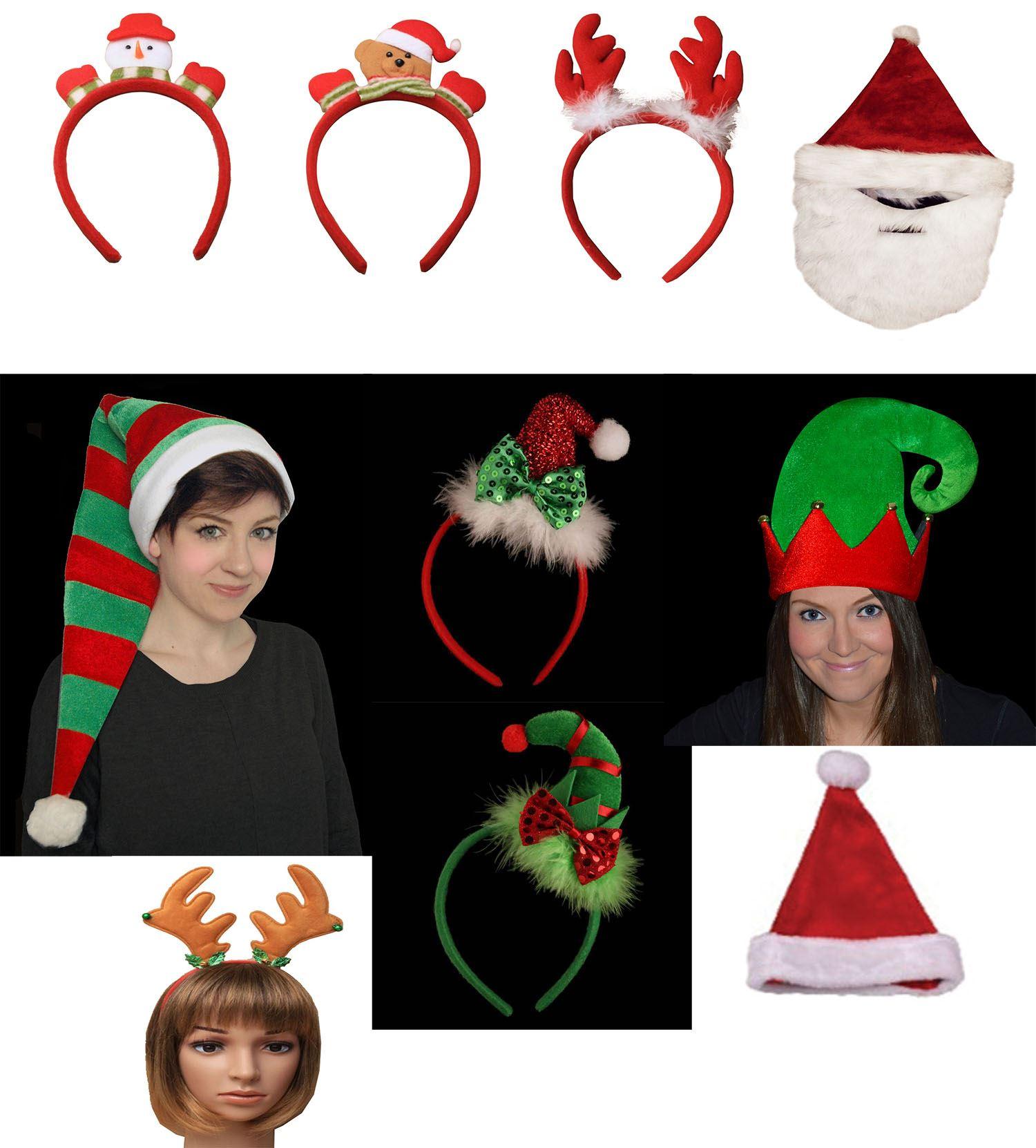Christmas Hat Hair Band Headband Santa Alice Elf Shoes Reindeer Snowman Bear Ebay