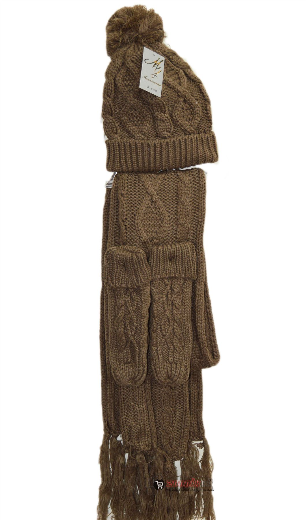Womens-Ladies-Woolly-Thick-Knit-Hat-Scarf-And-Gloves-Mittens-Set-Knitted-Woollen thumbnail 4