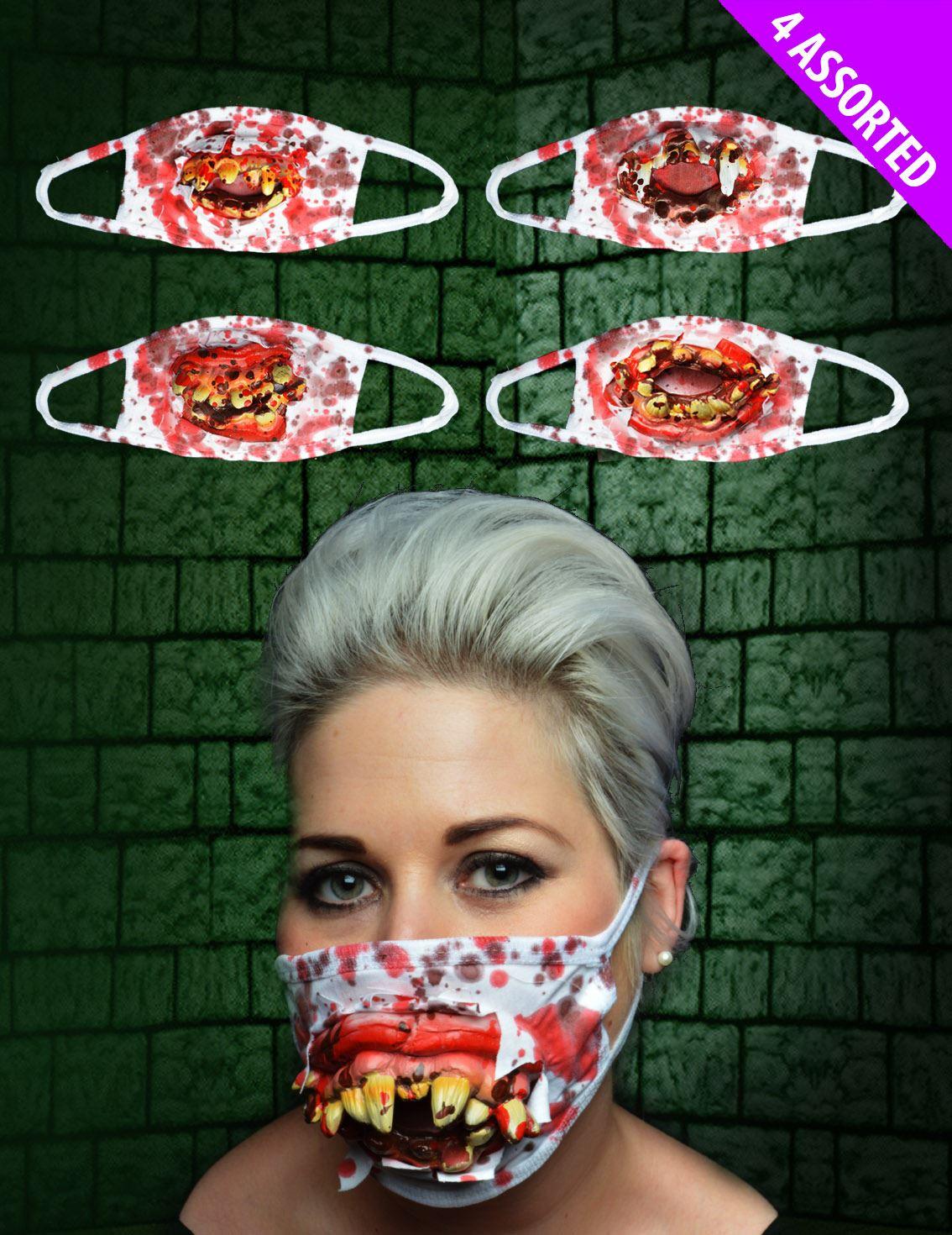 1x Halloween Zombie Surgeon Medical Mask with Goofy Teeth
