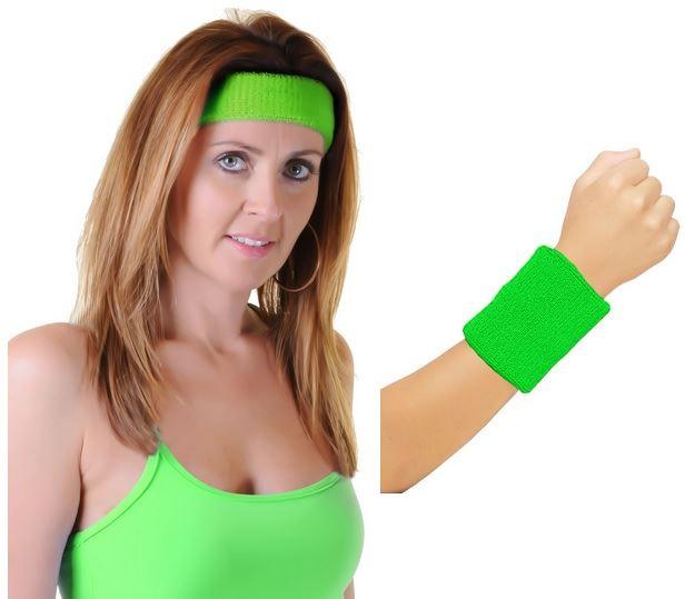 Ladies Head Band And Towelling Wrist Set Yoga Dance Tennis Sweatband 80s