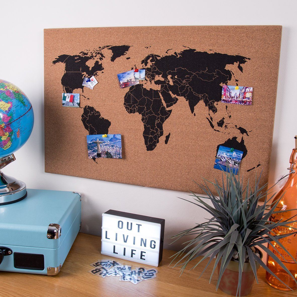 Corkboard world map wall hanging decoration memo board including corkboard world map wall hanging decoration memo board including pins brown gumiabroncs Choice Image
