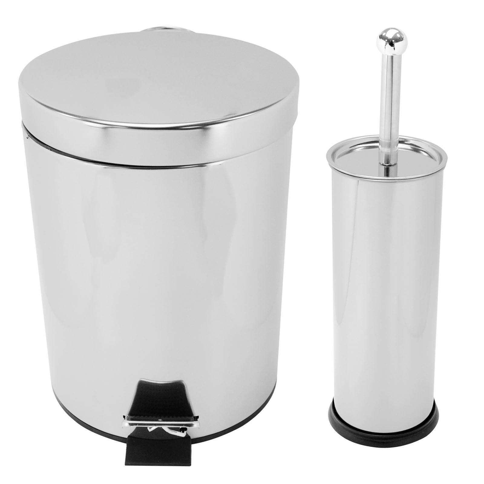 Stainless steel 5l toilet bin and brush set step foot for Bathroom bin set