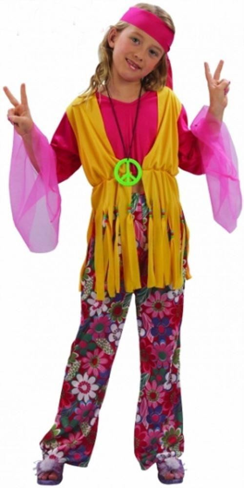 Girl\u0027s Hippy Kids Fancy Dress Costume 60\u0027S 70\u0027S Hippie Party Wear Outfit