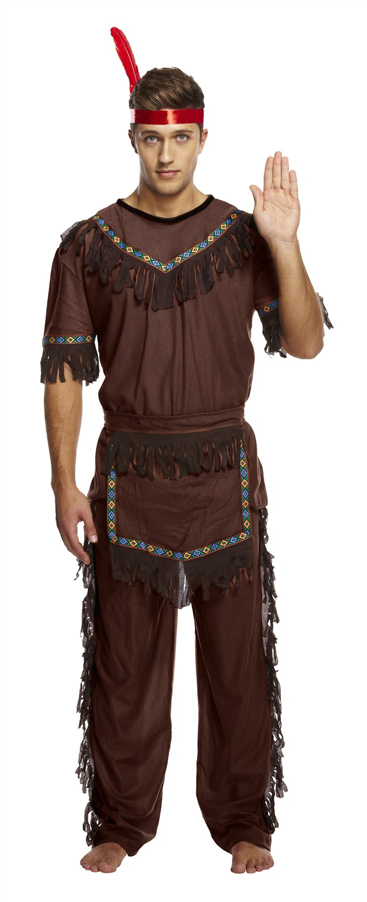 Adult Brave Indian Warrior Wild West Fancy Dress Costume Mens Gents Male BN
