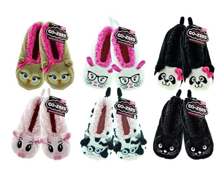 Girls Ladies Christmas Cozee Slipper Socks Sherpa Shoes 3D Animal ...