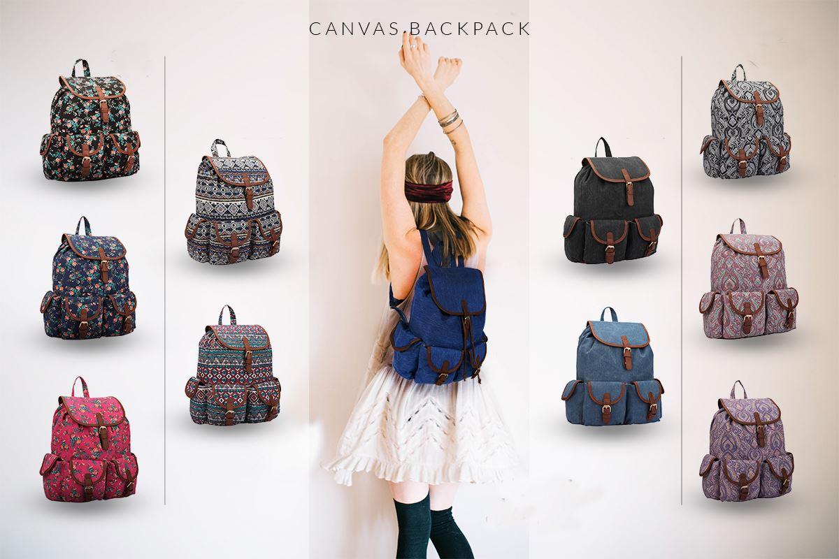 868aa117bc78 Printed Ladies Girls Canvas Backpack School Bag College Travel Rucksack