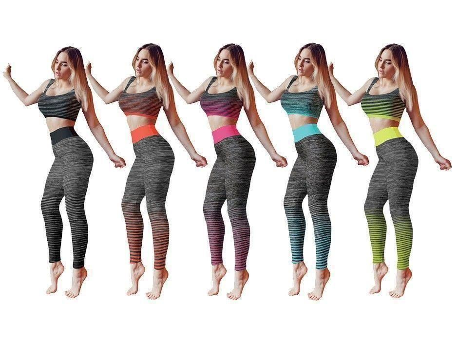 Ladies Gym Suit Crop Top Sport Zone Active Gym Wear Leggings and Crop Top Set