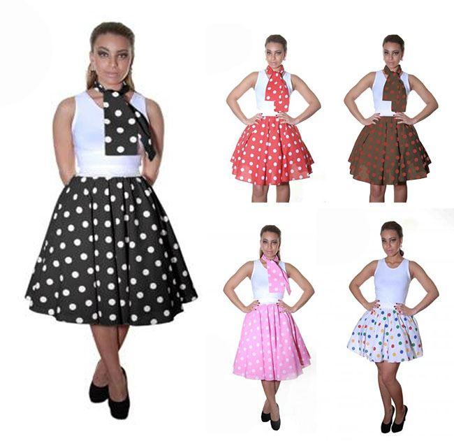 Ladies Women 1950 1960s Fancy Dress Costume Polka Dot Rock N Roll Poodle Skirt