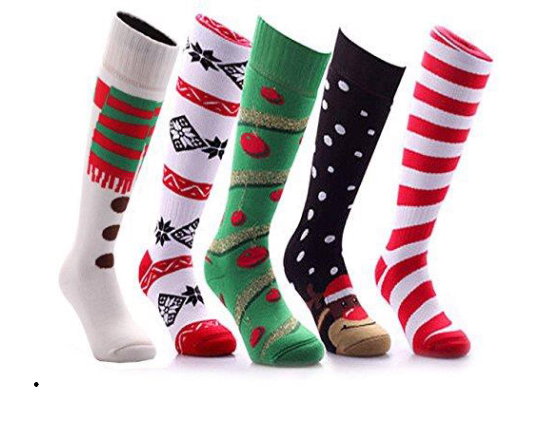Thick Christmas Thermal Welly Ski Socks Kids Ladies Men\'s Knee High ...