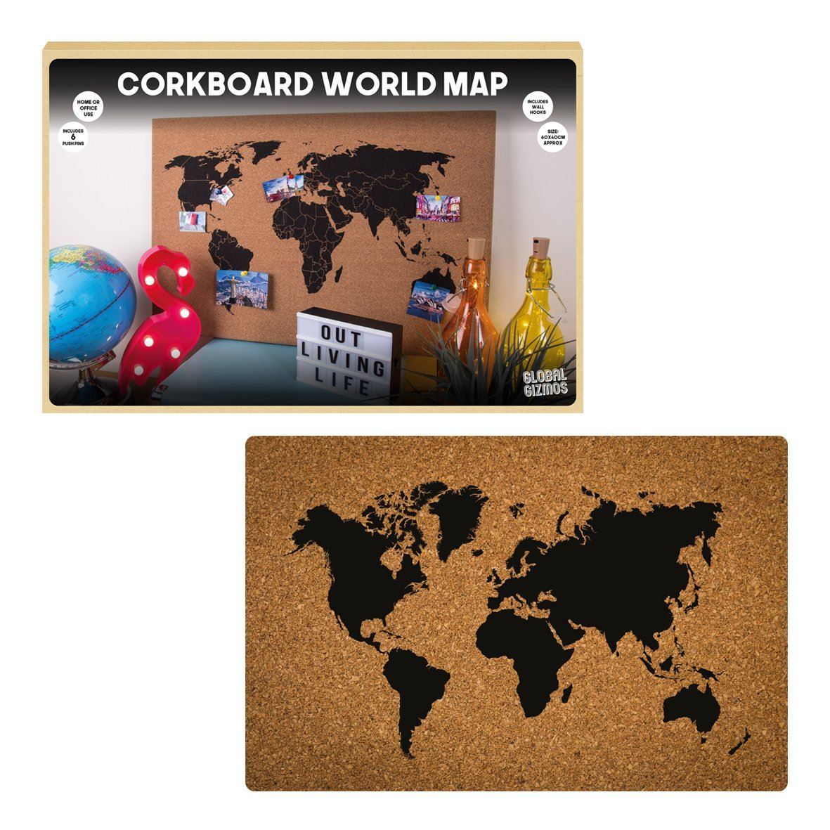 Corkboard world map wall hanging decoration memo board including corkboard world map wall hanging decoration memo board including pins brown gumiabroncs Images