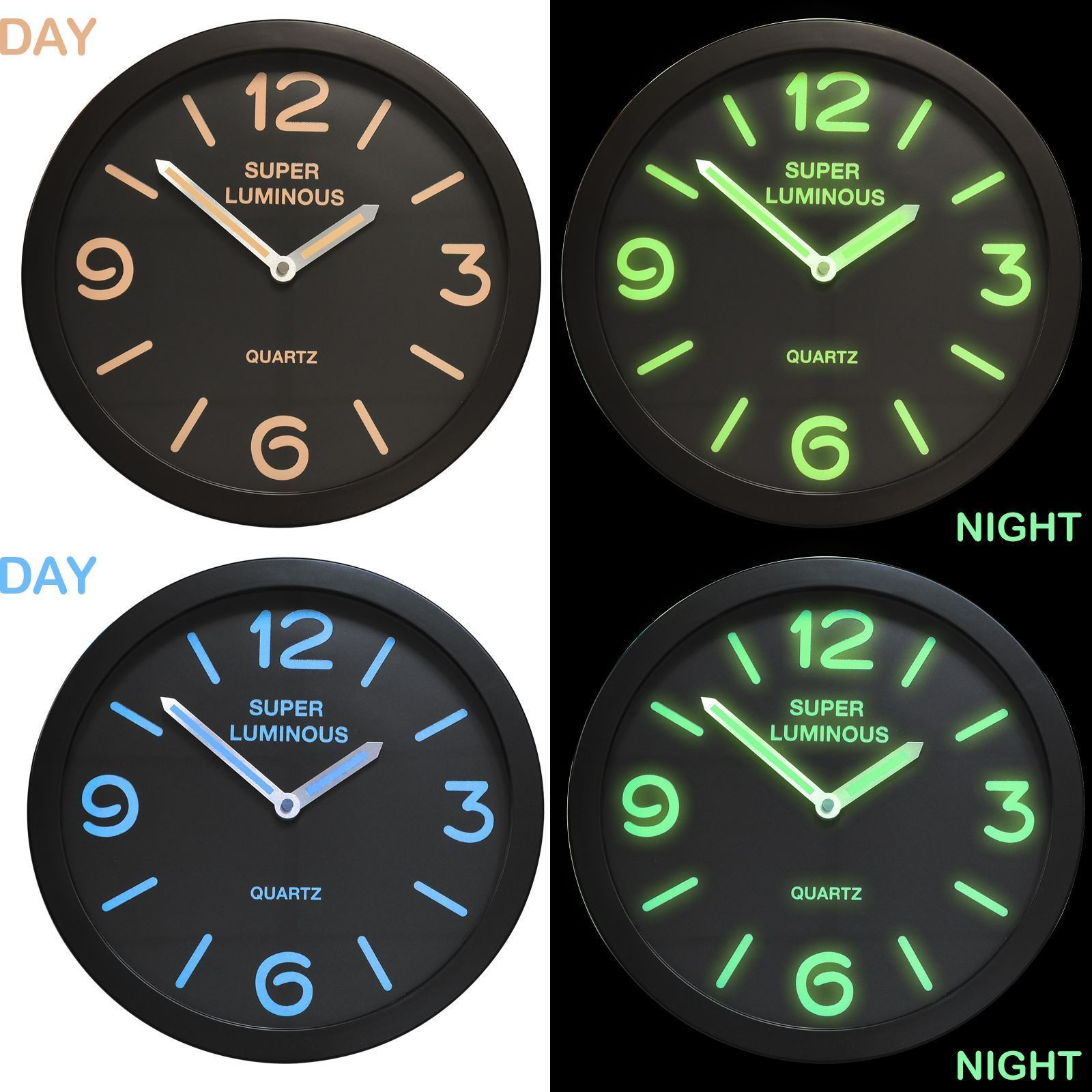 12 glow in the dark round novelty wall clock hanging