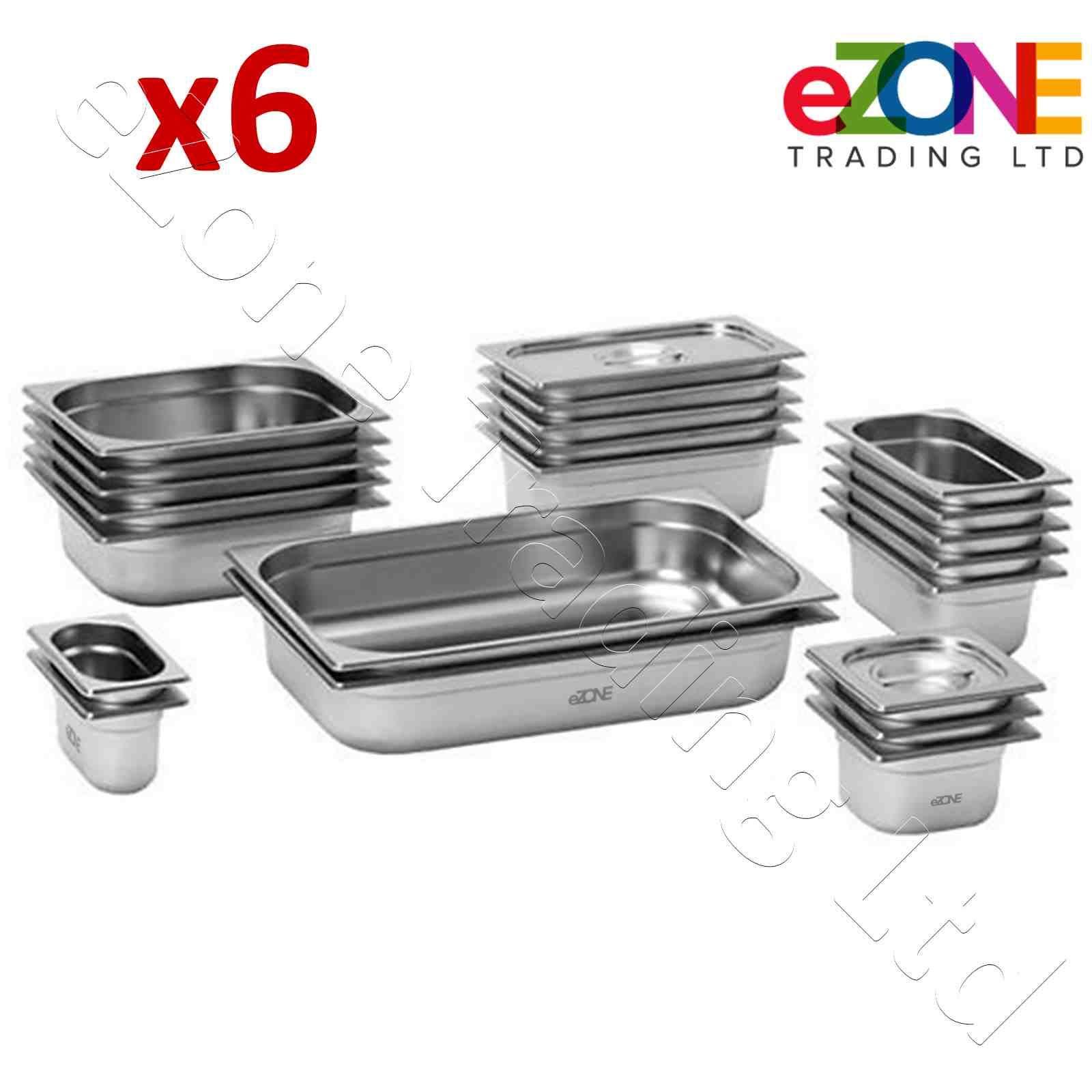 2019 DernièRe Conception 6x Borne Pan En Acier Inoxydable Gastro Conteneur Plateau Bain Marie Food Pot Couvercle-afficher Le Titre D'origine AgréAble En ArrièRe-GoûT