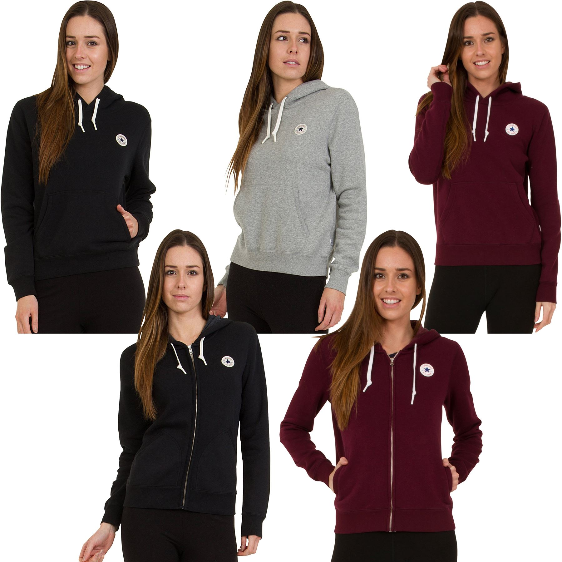 08236b9698ba Details about Converse Hoodie Sweatshirt Women s All Star Tops Assorted  Styles - S