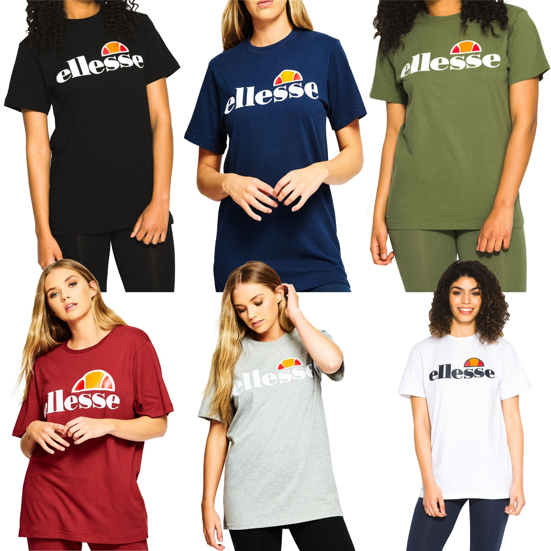 1711046212 Details about Ellesse Women's Albany T-Shirt - Black, White, Green, Grey,  Blue, Red - UK 8-14