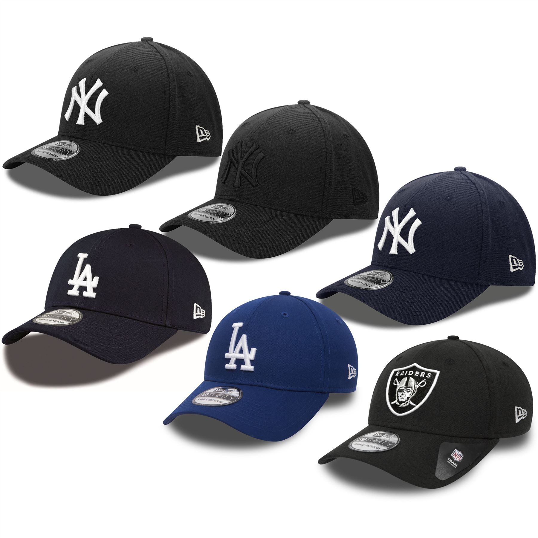 18ebefedbc8b Details about New Era 39THIRTY Yankees, Dodgers, Raiders Classic Baseball  Cap - Black, Blue
