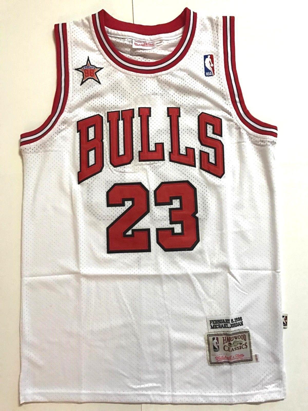 NBA-Jersey-Shirt-Chicago-Bulls-Michael-Jordan-No23-Black-White-Red miniatura 8