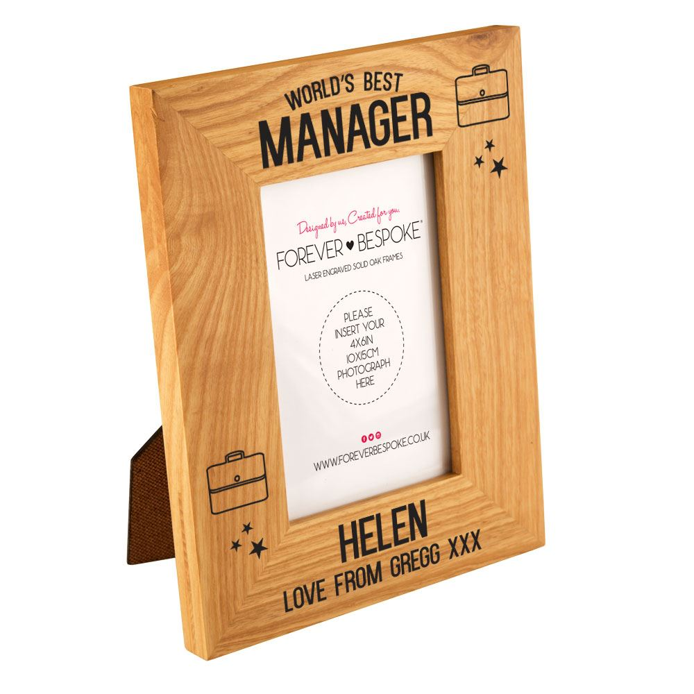 Personalised World\'s Best Manager Oak Frame, Fun Retail Unique Gift ...