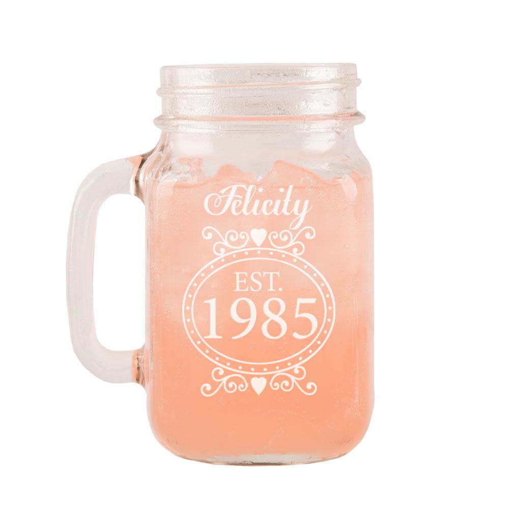 Details About Personalised 30th Birthday Glass Mason Jar With Handle Gift Ideas For Her