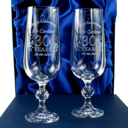 Wedding Gift Champagne Flutes: Engraved Wedding Anniversary Crystal Champagne Flutes