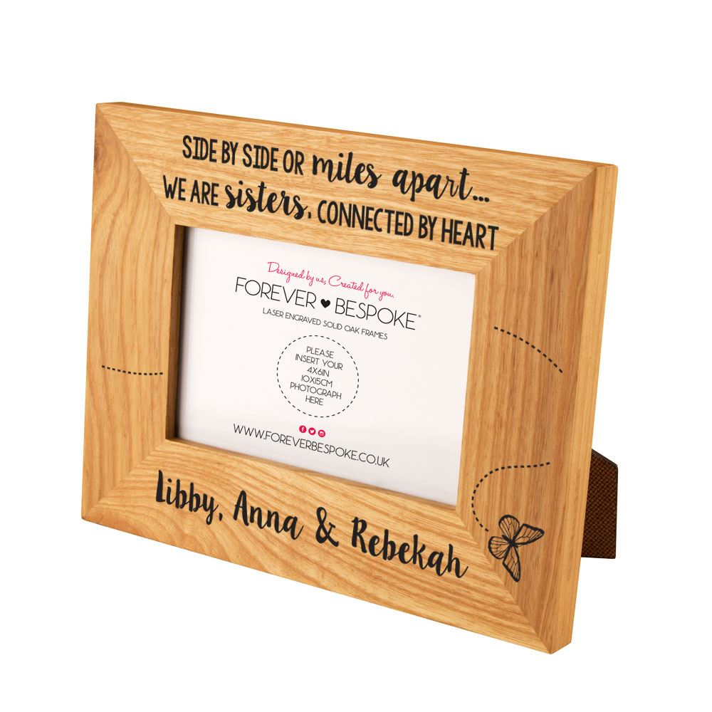 Personalised Engraved Sister Oak Photo Frame Sibling Gifts Birthday Her