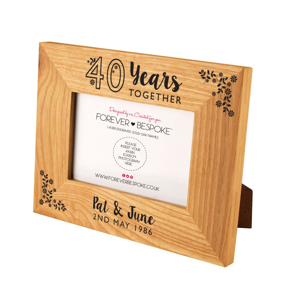 Personalised 40th Wedding Anniversary Oak Frame Unique Couples