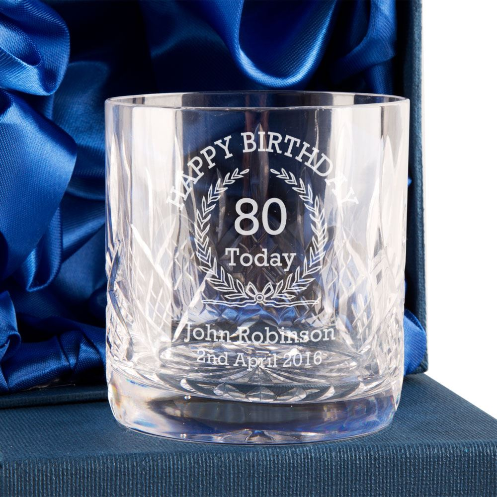 Details About Crystal Whisky Glass 80th Birthday Gift 8cm Him PGI392O