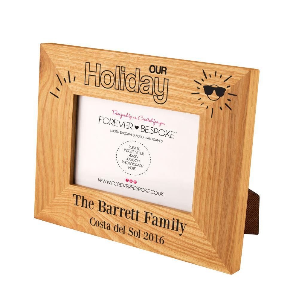 Personalised Engraved Holiday Oak Photo Frame, Fun Summer Holiday ...