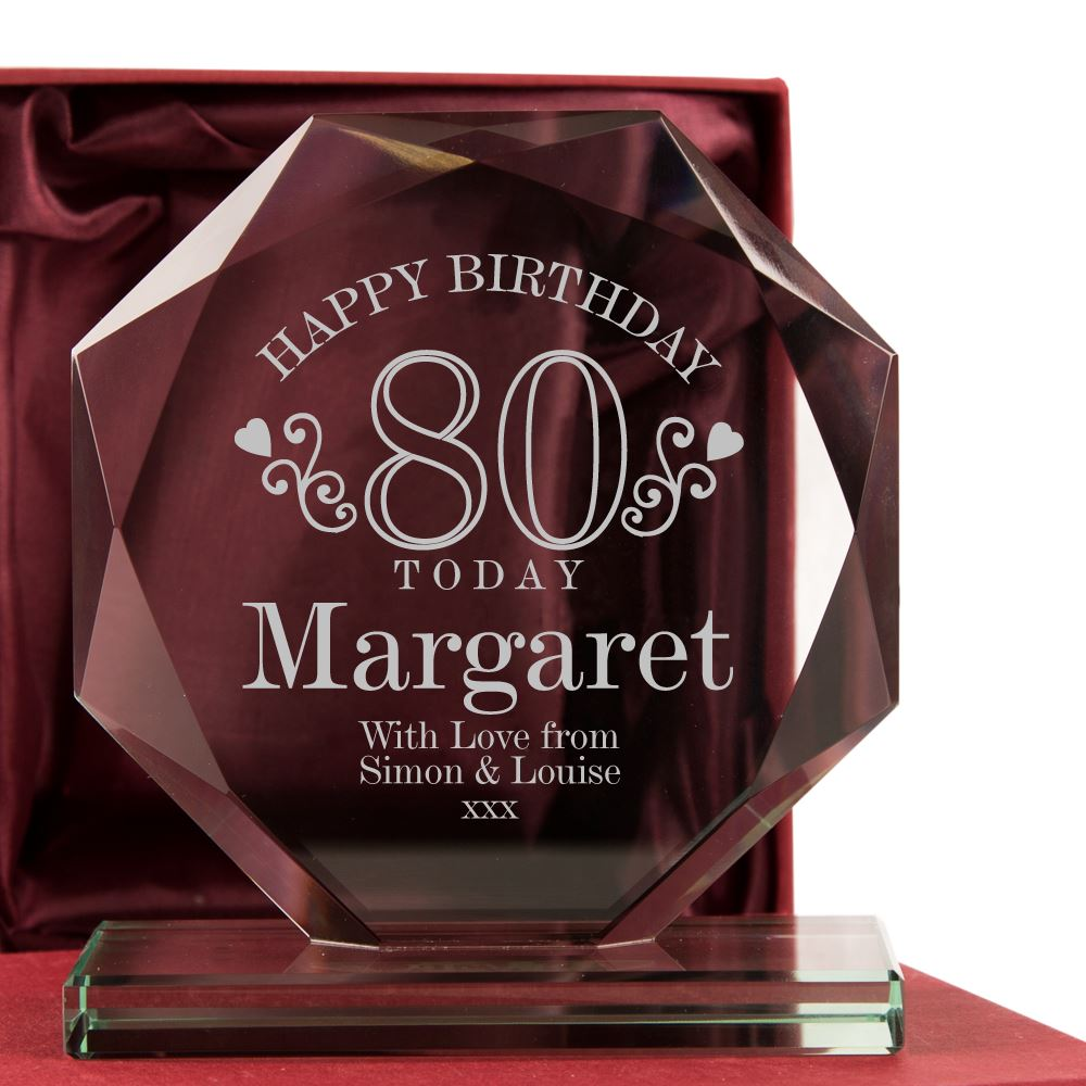 Personalised 80th Birthday Glass Award Plaque Frame Keepsake Gift