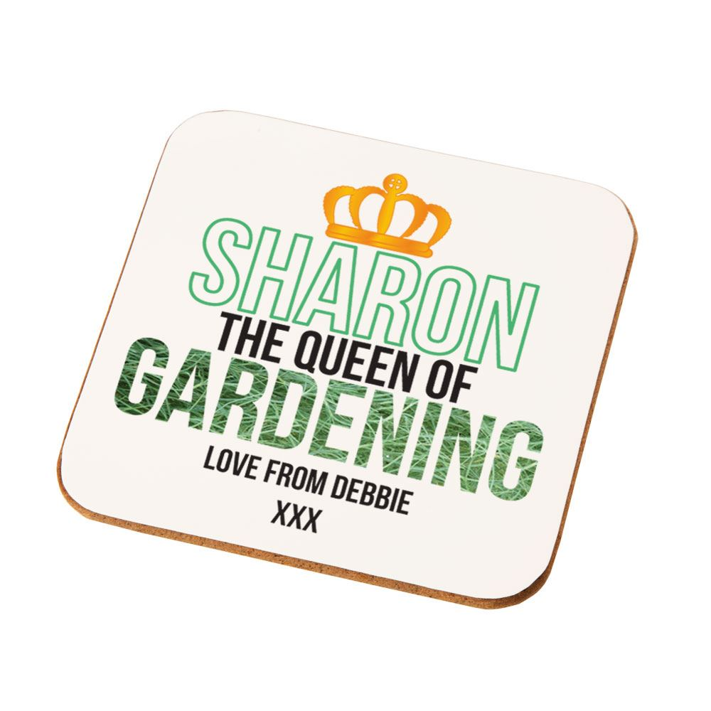 Amazing Personalised The Queen Of Gardening Drinks Coaster, Unique Gardening Gifts