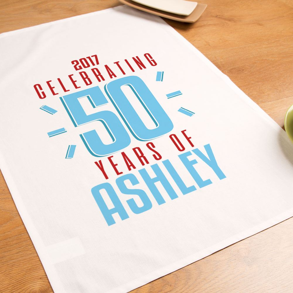 Personalised 50th Birthday Tea Towel Novelty Memento Gifts For Her Unique