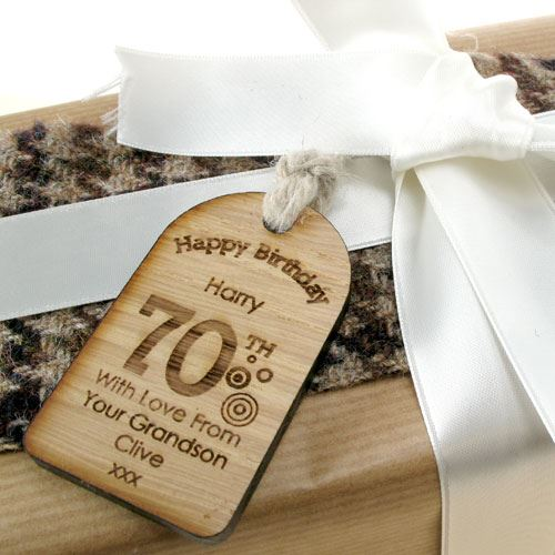 70th Birthday Personalised Gift Tag Unusual Engraved Gifts