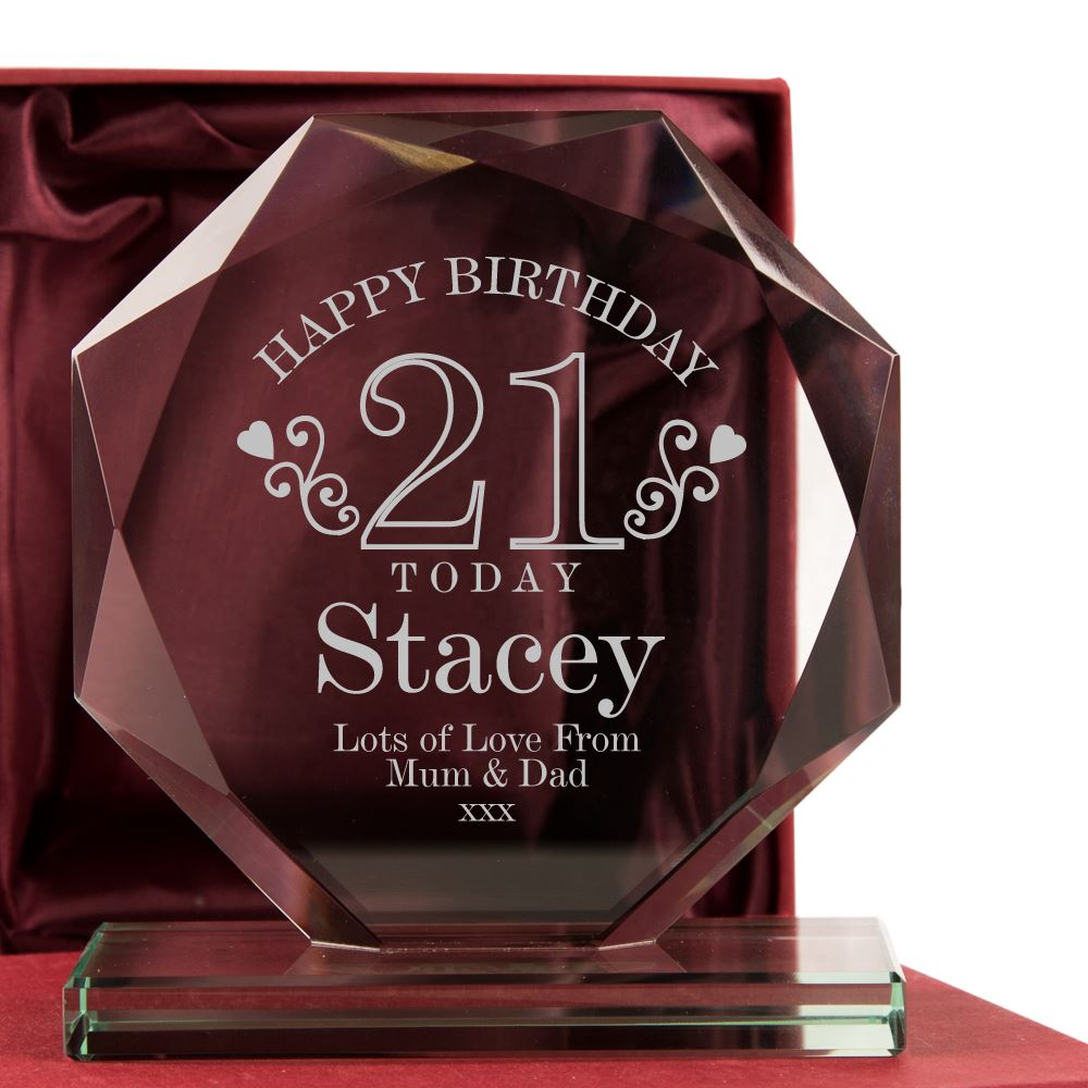 Personalised 21st Birthday Glass Award Plaque Girlfriend Daughter Girl Gifts
