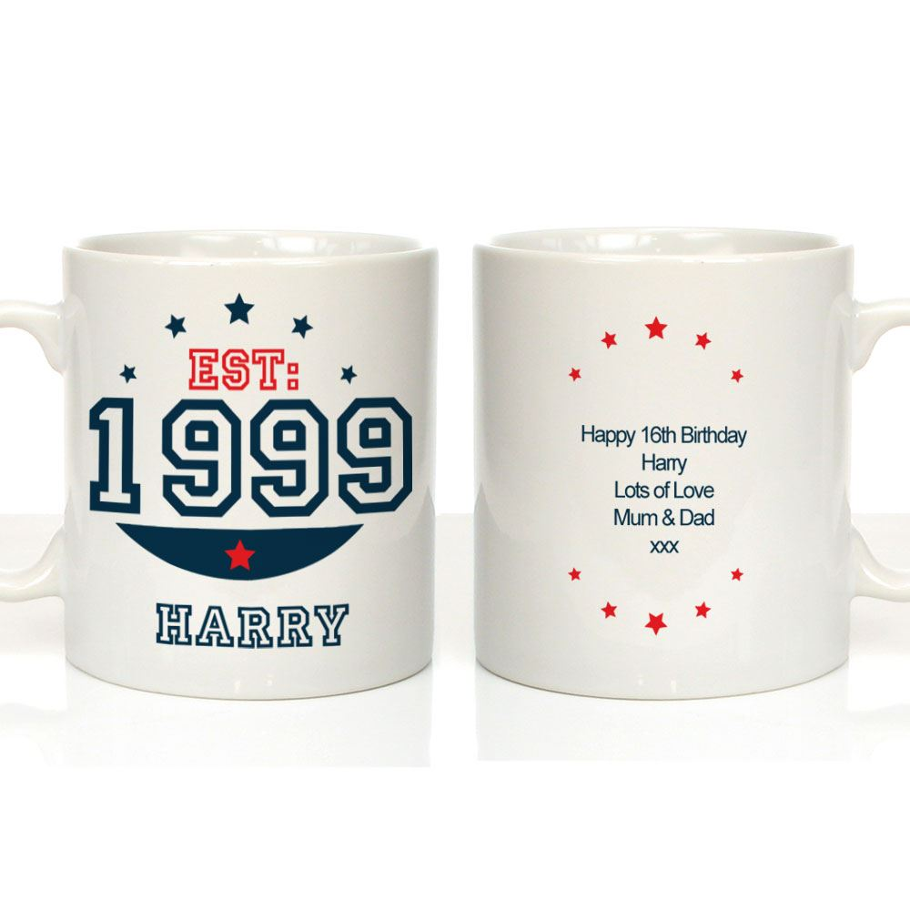 Personalised 16th Birthday Mug, Established (year), Gift