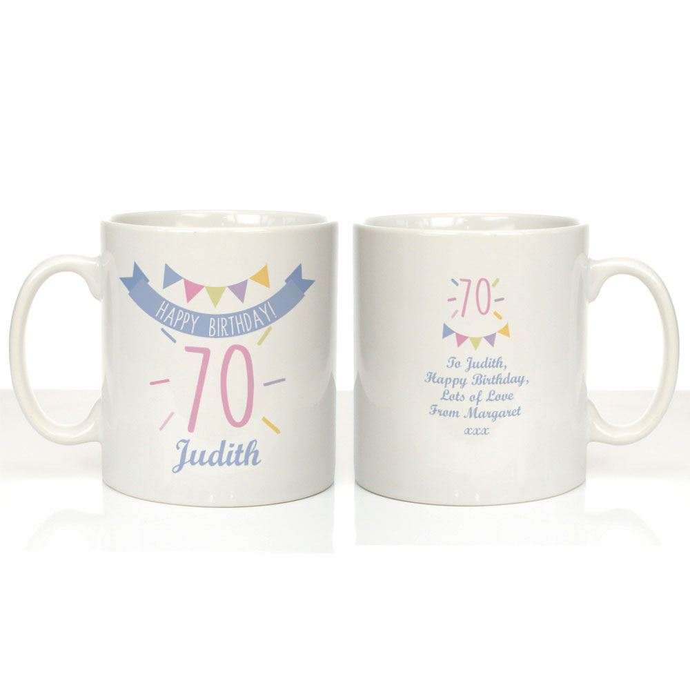 Personalised 70th Birthday Mug For Her Female Gran Auntie 70 Keepsake Gifts