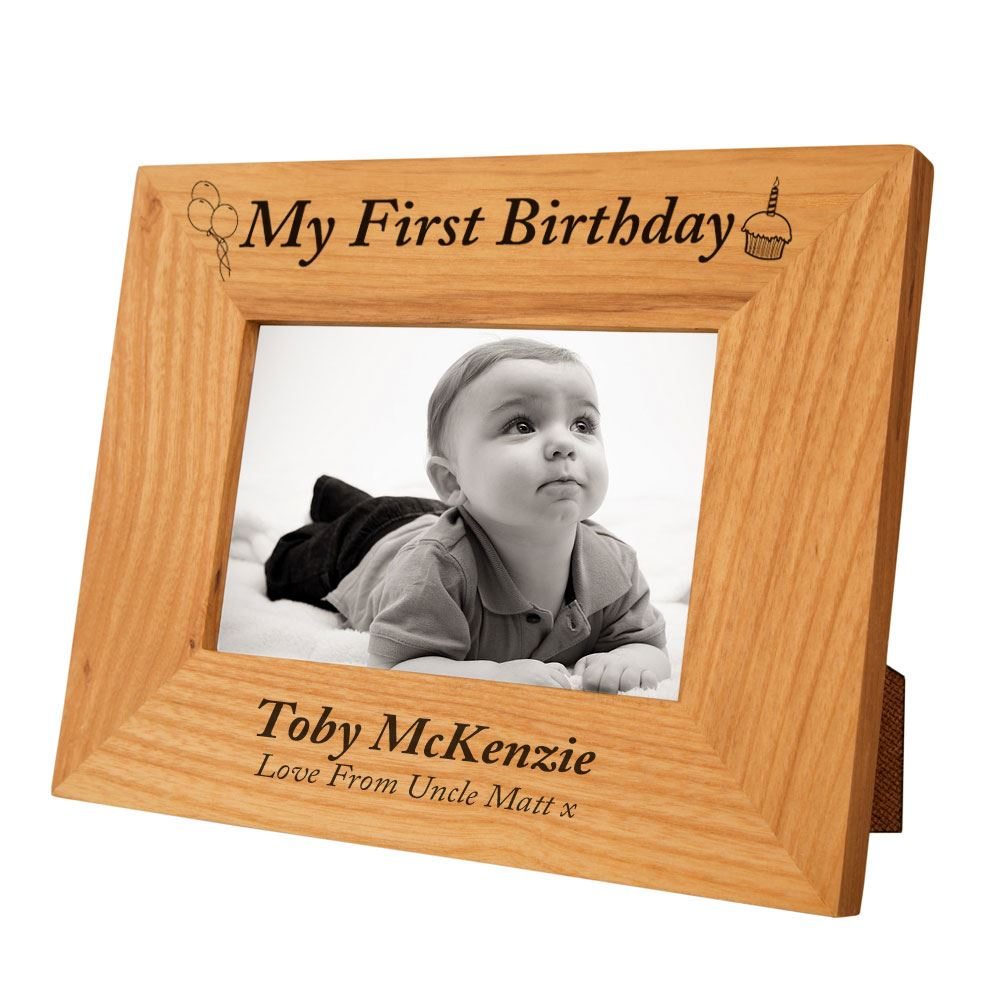 Details About Personalised My First Birthday Oak Photo Frame Gifts For Baby Boys