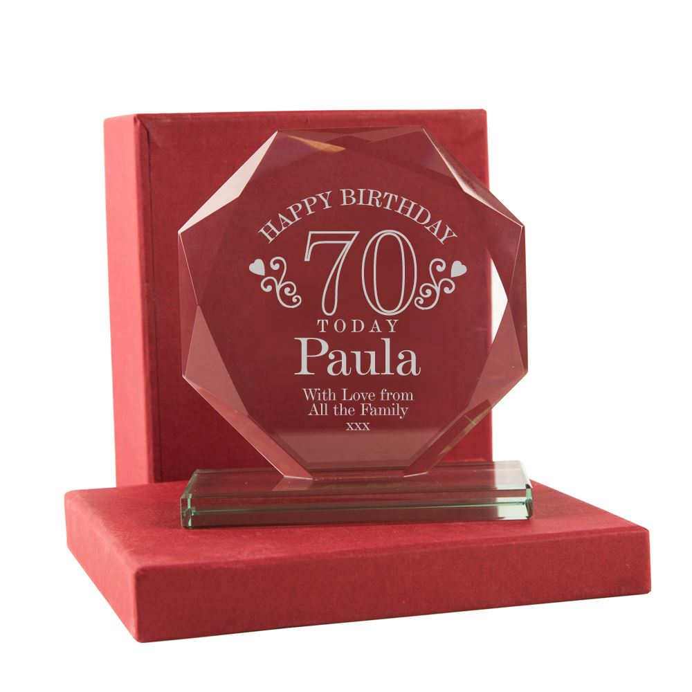 Engraved 70th Birthday Glass Award For Her 70 Gifts Grandma Aunt Mum Presents
