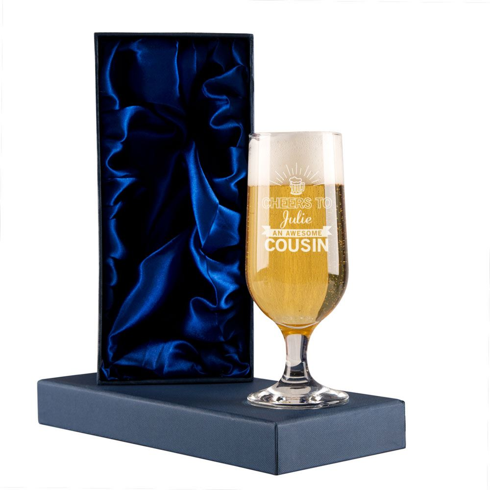 Personalised Cheers Cousin Beer Glass Birthday Present Christmas