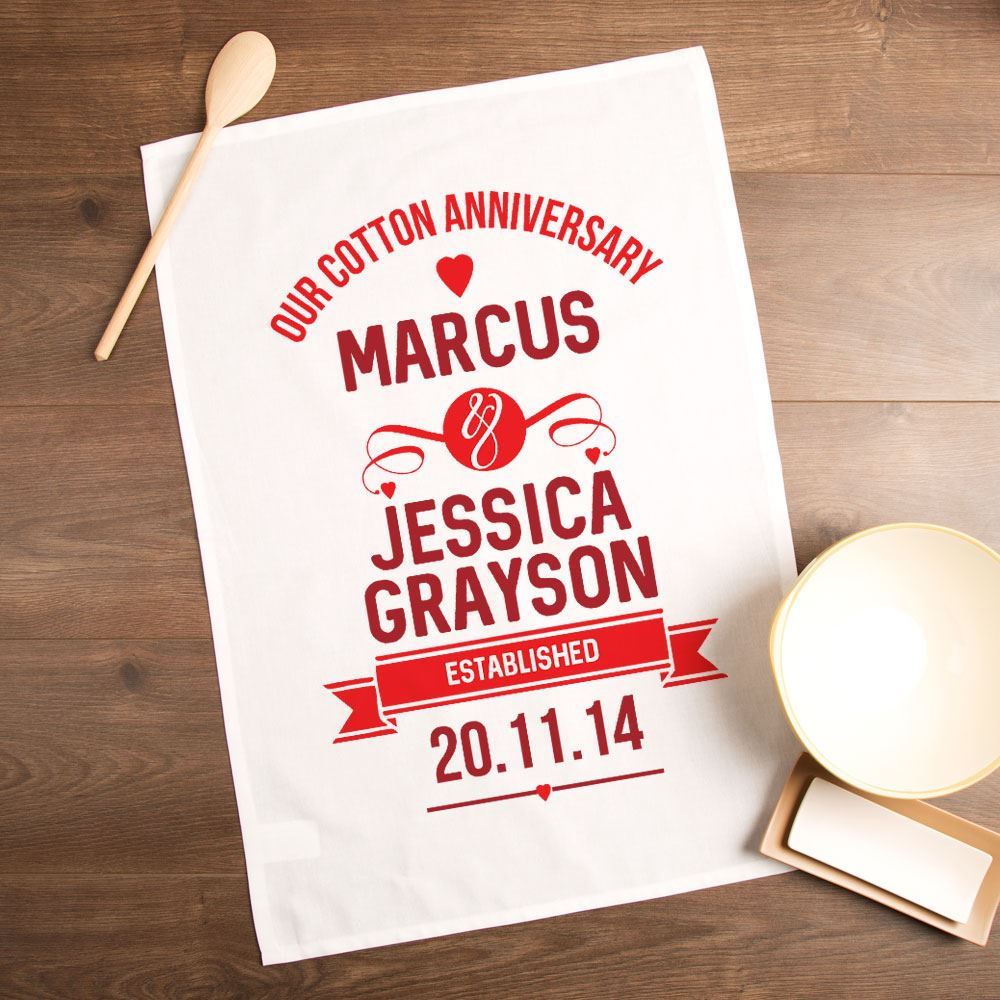 Cotton Wedding Gift: Personalised Cotton Wedding Anniversary Tea Towel, 2nd