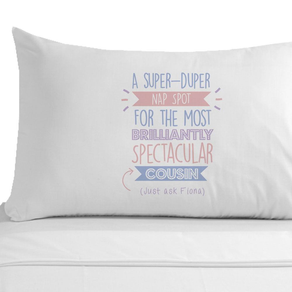 Personalised Super Cousin Pillowcase Female Her Home Decor Birthday